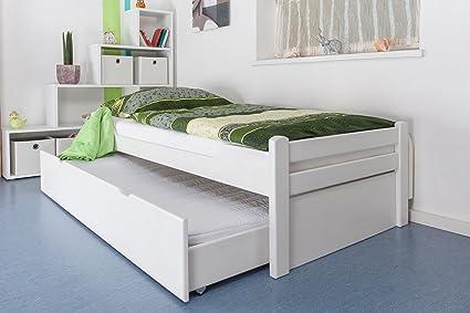 """Einzelbett / Ausziehbett """"Easy Sleep"""" K1/1h inkl. 2. Liegeplatz und 2 Abdeckblenden, 90 x 200 cm Buche Vollholz massiv weiß lackiert"""