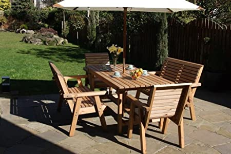 Garden Furniture / Patio Set 6ft Table, 2 Benches, 2 Chairs High Back Roll Top