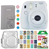 Fujifilm Instax Mini 9 Instant Camera(Smokey White) + Fujifilm Instax Mini Instant Film (20 Shots) + Glitter Hard Case + Fujifilm Wallet Album + Colored Lens Filters + 20 Sticker Frames Travel Package (Color: Smokey White, Tamaño: Premium Bundle)