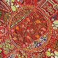 EYES OF INDIA - 43.2cm ROT RUND BLUMEN BESTICKT PATCHWORK SITZKISSEN Indisches Ethnisches Dekor von Eyes of India - Gartenmöbel von Du und Dein Garten