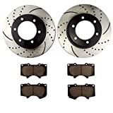 Front set Prime Choice Auto Parts PCDR4425744257979 2 Brake Rotors 1 Performance Ceramic Brake Pads