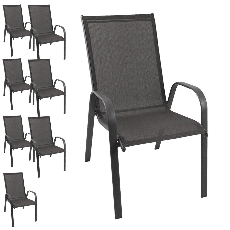 8 Stück Gartenstuhl stapelbar Gartensessel Stapelstuhl Stapelsessel Stahlgestell pulverbeschichtet mit 2×1 Textilenbespannung Gartenmöbel Terrassenmöbel Balkonmöbel jetzt bestellen