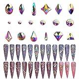Warmfits AB Crystal Rhinestones Set, 1840pcs Rhinestones Nail Art Set Nail Gems Iridescent Clear Class Multi-Shape Flat Back Shiny Nail Jewels for Nail Art DIY Crafts Phones Clothes Shoes Jewelry Bag