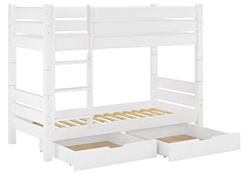 60.16-09 W T80 S2 Etagenbett fur Erwachsene weiß 90x200 cm, Nische 80cm teilbar, mit 2 Rollroste u 2 Bettkästen
