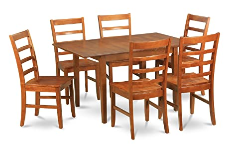East West Furniture MLPF7-SBR-W 7-Piece Dinette Table Set