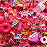 30 Pack Cute Candy Slime Beads Fruit Dessert Ice Cream Resin Charms Slices Flatback Buttons for Handcraft Accessories Scrapbooking Phone Case Decor (Red) (Color: Red, Tamaño: 10mm-25mm/0.39inch-1inch)