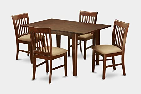 East West Furniture PSNO5-MAH-W 5-Piece Dining/Kitchen Table Set