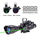 Pinty AR15 Rifle Scope 4-12x50EG Rangefinder Illuminated Optics with 4 Reticle Red&Green Reflex Sight & Green Dot Laser Sight