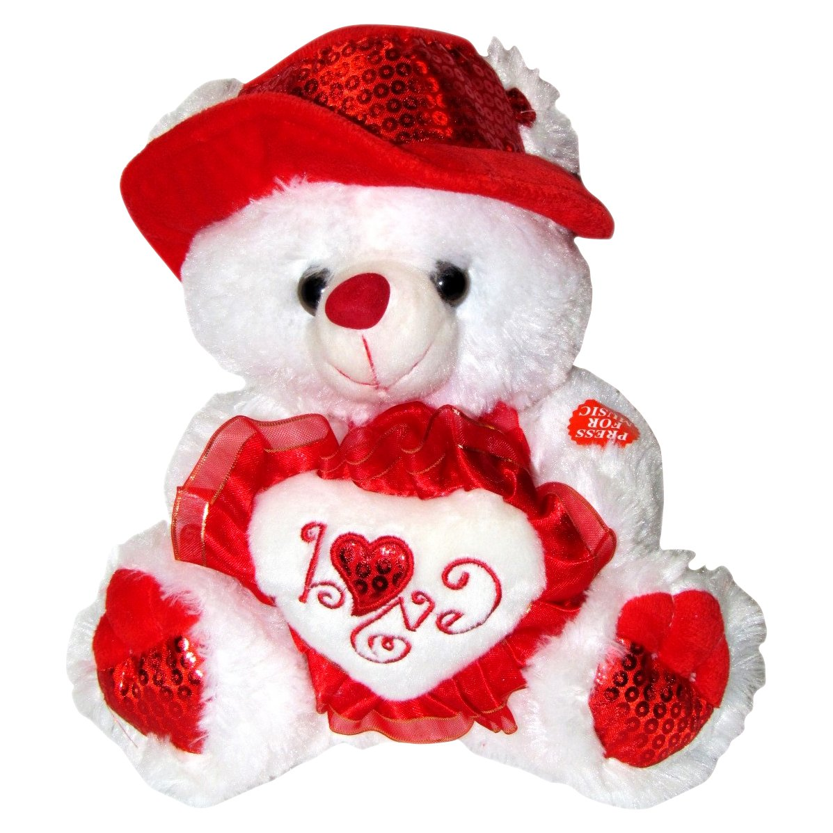 Musical I Love You Teddy Bear with Red Hat