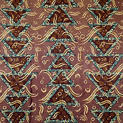 African Print Fabric Cotton Print Millennium Brown 44'' wide By The Yard Turquoise Yellow