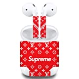 Premium Vinyl Skin Sticker Compatible with Apple Airpods (Red) (Color: Red, Tamaño: 309)