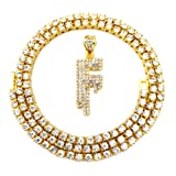 HH Bling Empire Iced Out Hip Hop Gold Faux Diamond Bubble Dripping Letter Tennis Chain Necklace 20 Inch (Dripping Letter F)
