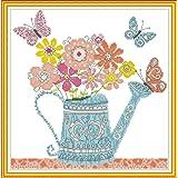 Joy Sunday Stamped Cross Stitch Kits, Flower Pot Cross-Stitch Sets 11CT Embroidery Kit Needlework (Color: 11CT Stamped kit,Flower Pot)