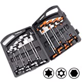 HORUSDY 16-Piece T-Handle allen wrench set 2mm-10mm, Long Arm Ball End Hex Key Wrench Set, Tamper Proof Star Key Set T10-T50, Metric (Color: Orange Grey, Tamaño: Metric)