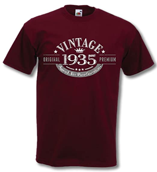 My Generation Gifts 1935 Vintage Year – 80th Birthday Gift Present T-Shirt Mens at Amazon Men's Clothing store