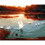 5D Diy Diamond Painting Kits with Round Drill Diamond Decor Christmas Gifts 7.9X9.8Inch- White Swan(Frameless) (Color: Picture eey 2, Tamaño: 7.9 x 9.8 inch)