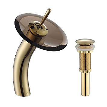Kraus KGW-1700-PU-10G-BRCL Single Lever Vessel Glass Waterfall Bathroom Faucet Gold with Brown Clear Glass Disk and Matching Pop Up Drain