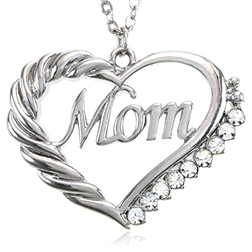 Clear Mom Heart Necklace Love Pendant Charm for Mother's Day Gift Jewelry