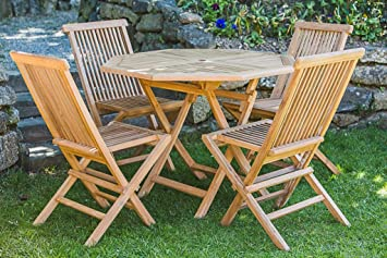Solid Teak 1m Octagonal Folding Table and Folding Chair Patio Furniture Set