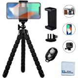 """Acuvar 10"""" inch Flexible Tripod with Quick Release, Universal Mount for All Smartphones, Wireless Remote Control and Universal Mount for All GoPro Cameras + an eCostConnection Microfiber Cloth (Color: Black)"""