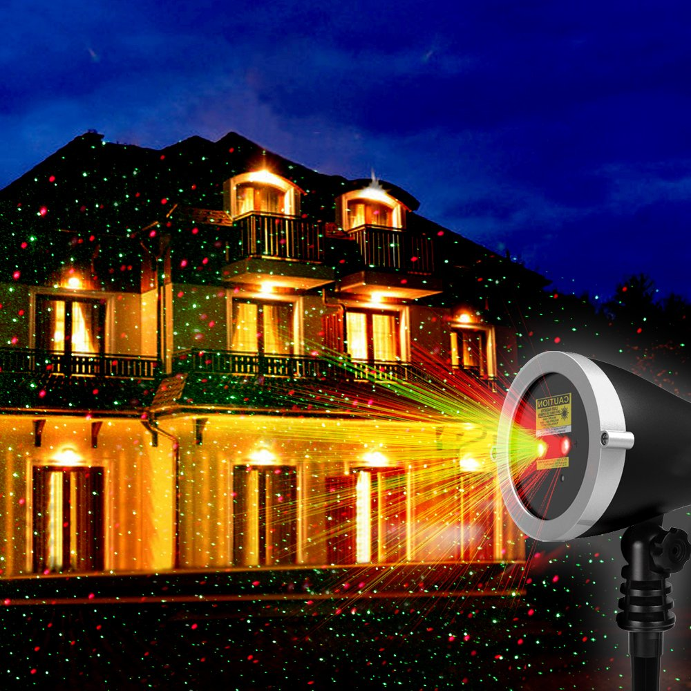 1byone Christmas Outdoor Laser Light Projector with Wireless Remote Controller, Aluminum Alloy Red and Green Stars Laser Show for Xmas, Halloween, Parties, Landscape or Garden Decoration, Black
