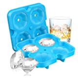 Ice Cube Trays, SAWNZC Diamond-Shaped Fun Ice Cube Molds BPA Free Silicone Flexible Ice Maker for Chilling Whiskey Cocktails(Blue) (Color: Blue)