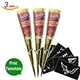 Golecha Temporary Tattoo India Henna Tattoo Paste Red Tatouage Temporary Paste Cone Body Art Painting with Free Henna Stencil Set (3PCS)