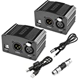 NUOSIYA 1-Channel 48V Phantom Power Supply with 6 feet USB Cable, XLR Adapter + 6 feet XLR 3 Pin Microphone Cable for Any Condenser Microphone Music Recording Equipment (2Pack) (Color: Black)