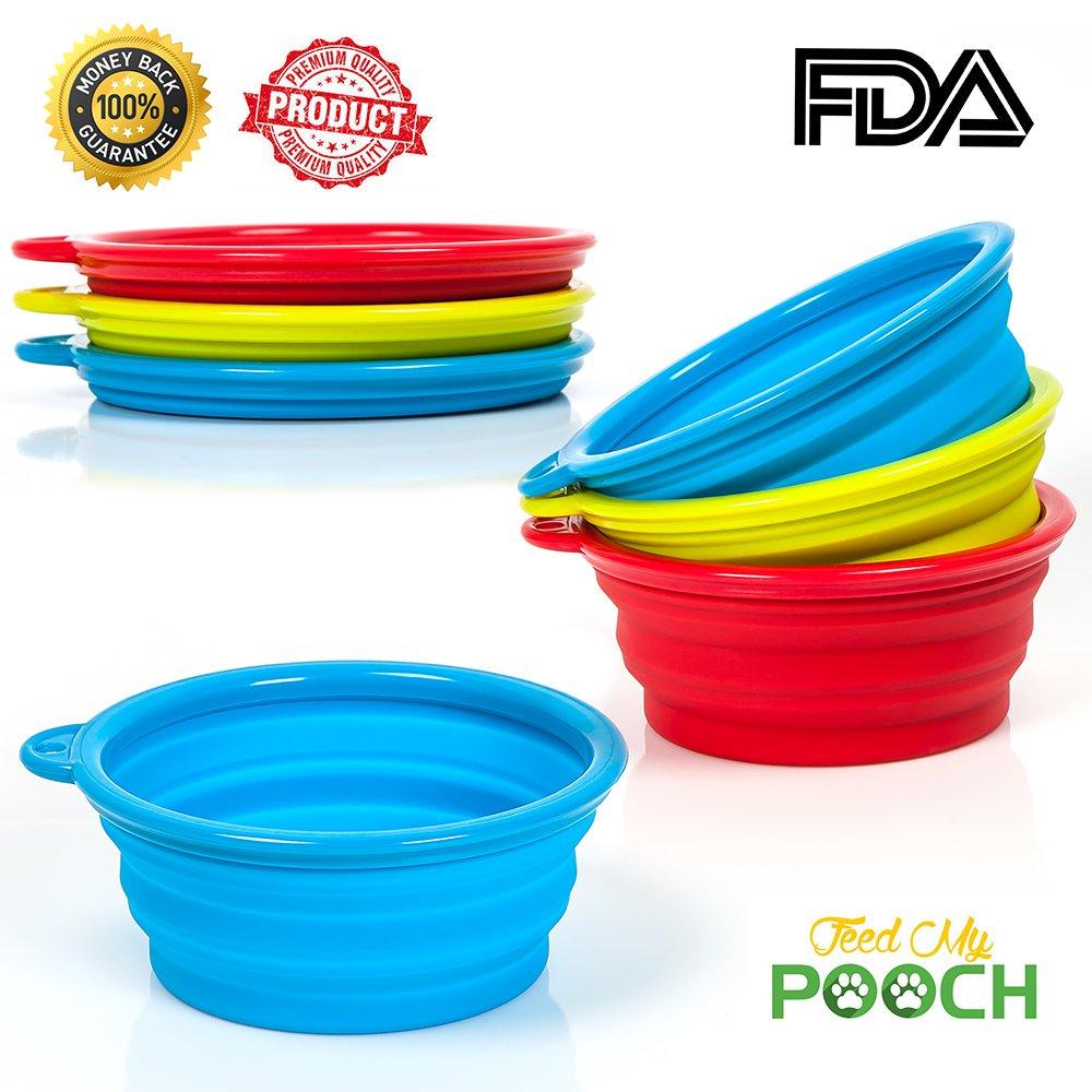 Travel Dog Bowl Collapsible - Portable Pet Food & Water Bowl, Used for Hiking, Car Journeys & Kennels, Dishwasher Safe Dog Food Bowl - Food Grade Silicone & BPA Free