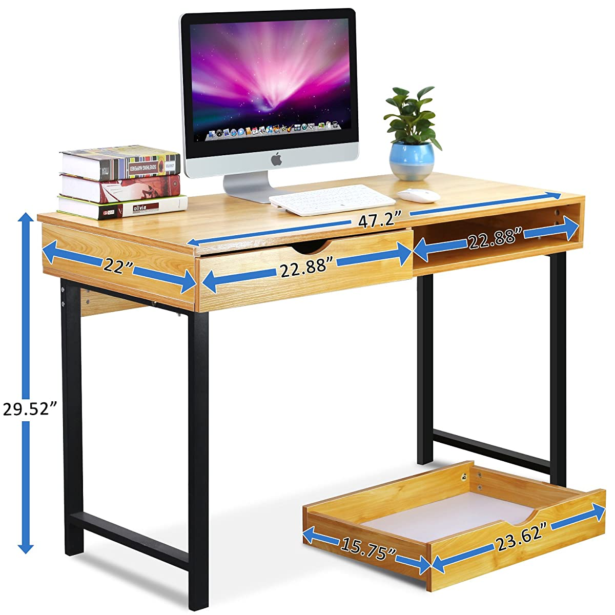 "Tribesigns Computer Desk Modern Stylish 47"" Home Office Study Table Writing Desk Workstation with 2 Drawers, Pear Wood Color"