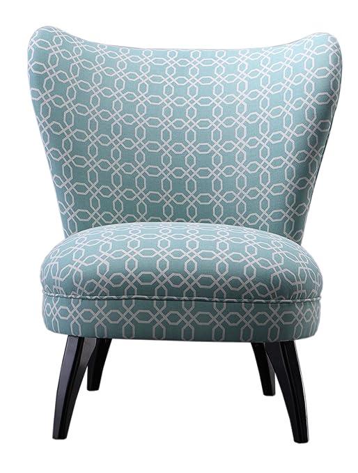 "SIT-Möbel 6010-13 Cocktail-Sessel ""SIT4Sofa"", 79 x 82 x 94 cm, Bezug Stoff hellblau gemustert, Beine Hevea dunkelbraun"