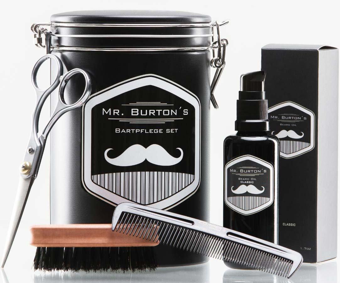 Bartpflege-set von Mr. Burton's Bartpflege Set mit Bartöl Bartkamm Bartbürste und Bartschere für kurze Bärte bis Vollbart