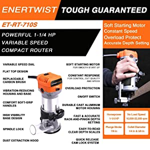 Enertwist 1-1/4 HP Comapct Palm Router Tool for Woodworking, 7.0Amp Soft Start Variable Speed Wood Trim Router, ET-RT-710S (Renewed) (Color: Orange, Tamaño: Medium)