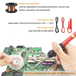 Soldering Iron Kit Electronics 27-in-1,DIY Adjustable Temperature 60W Welding Solder Gun, 5pcs IRON Tips Desoldering Pump Wire Stand in Portable Tool Box (Color: Red, Tamaño: Full Size)