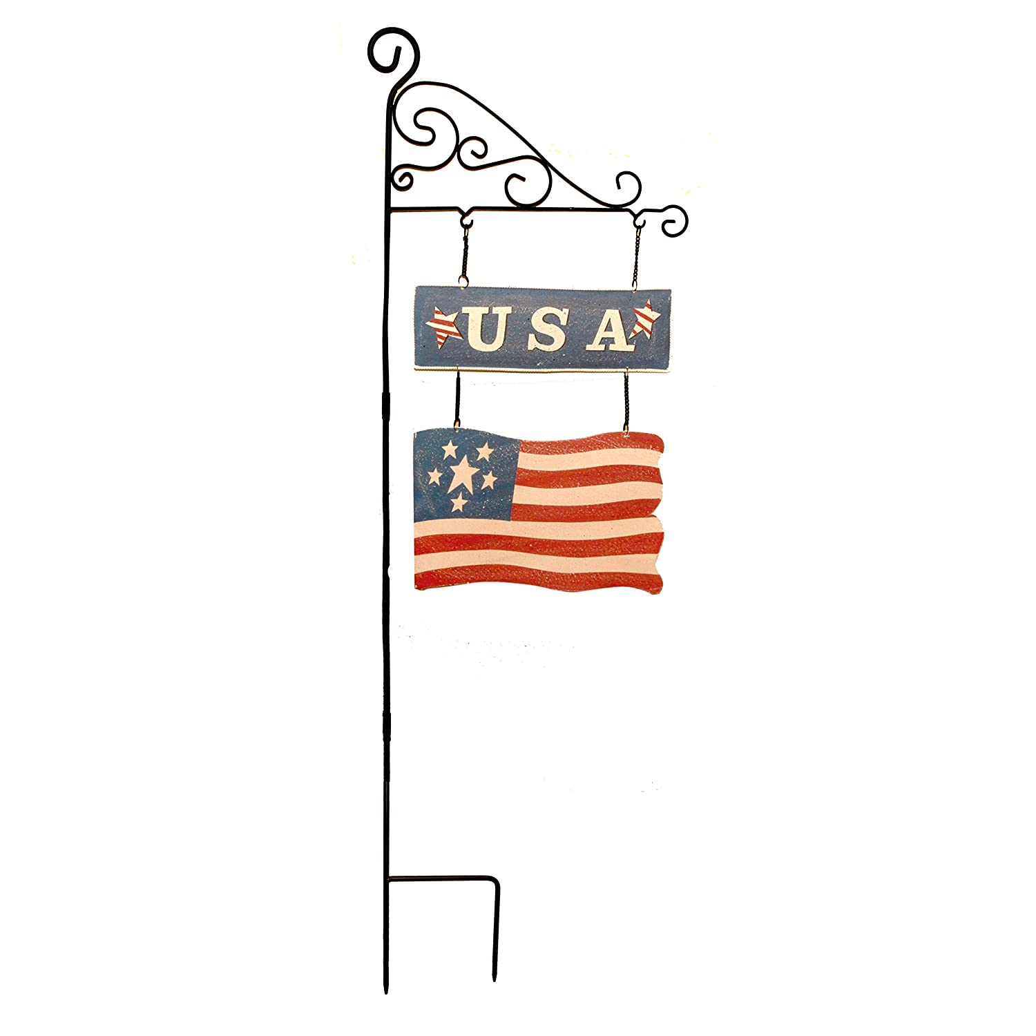 Patriotic USA Flag Metal 43 Inch Garden Stake Yard Decor Show Your  Patriotic Pride With This Colorful Metal USA Flag Stake! Once Placed In The  Ground, ...
