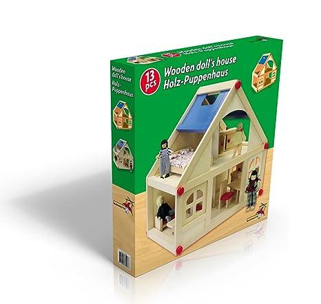 Marionnette Wooden Toys - 85497 - Poupée et Mini-Poupée - Maison de Poupée en Bois et Famille x13