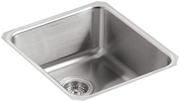 KOHLER K-3331-NA Undertone Medium Squared Undercounter Kitchen Sink, Stainless Steel