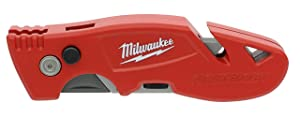 Milwaukee 48-22-1903 Fastback 3 Utility Knife with 4 Blade Storage, Wire Stripping Compartment, and Gut Hook (Color: Red, Tamaño: Small)