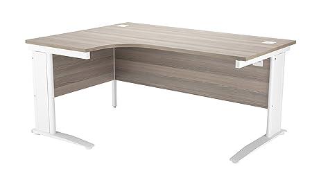 Office Hippo Left Corner Cable Management Desk, 180 cm - Silver Frame/Grey Oak Top