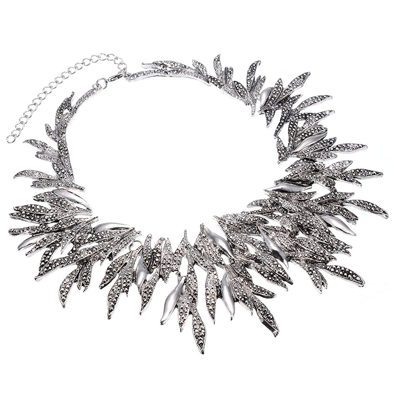 Jerollin Retro Blaetterstil Silber Kette Kragenschmuck Halskette fuer Freundingeschenk Party als Weihnachtsgeschenk kaufen