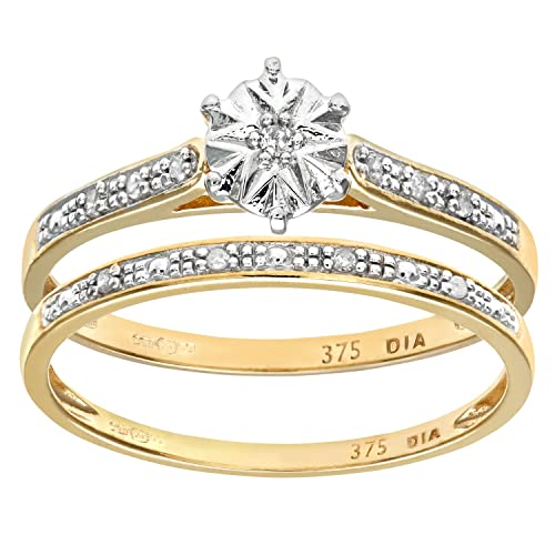 Naava 9ct Yellow Gold 0.05ct Diamond Bridal Set Ring
