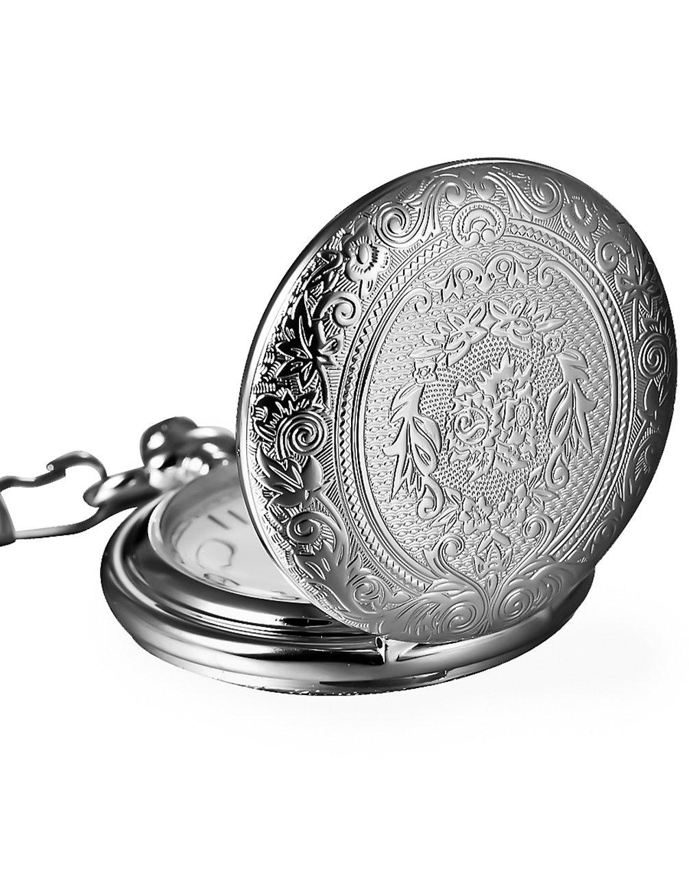 Mudder Vintage Silver Stainless Steel Quartz Pocket Watch Chain 0