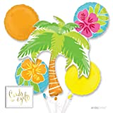 Andaz Press Balloon Bouquet Party Kit with Gold Cards & Gifts Sign, Summer Luau Palm Tree Pool Swim Party Foil Mylar Balloon Decorations, 1-Set (Color: Summer Luau)