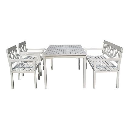 Tischgruppe, Sitzgruppe, Gartenmöbel im Schweden-Look, Eukalyptus Holz, weiß lackiert