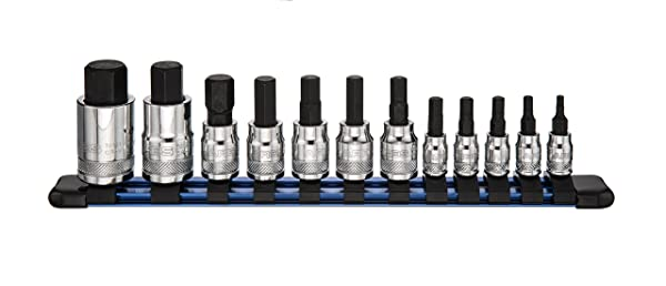 ARES 70108 | 12-Piece Metric Hex Bit Socket Set | Chrome Vanadium Sockets with S2 Alloy Bits | Includes Aluminum Socket Organizer (Color: Chrome, Tamaño: 12pc Metric Hex Bit Socket Set)