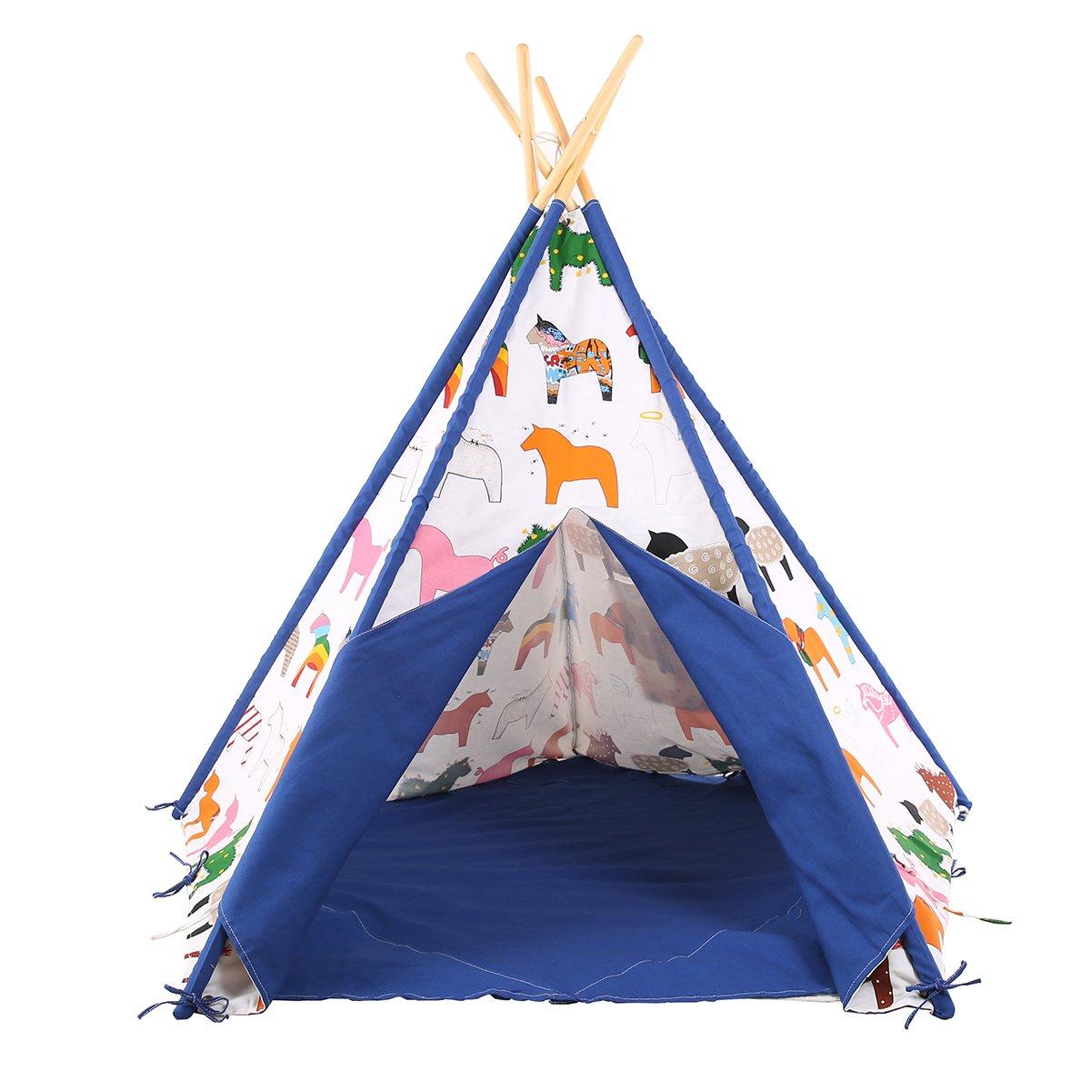 Pericross® Indianerzelt Kinder Schaukelpferd Tipi mit Fenster und Decke 100% Baumwolle Blau online kaufen
