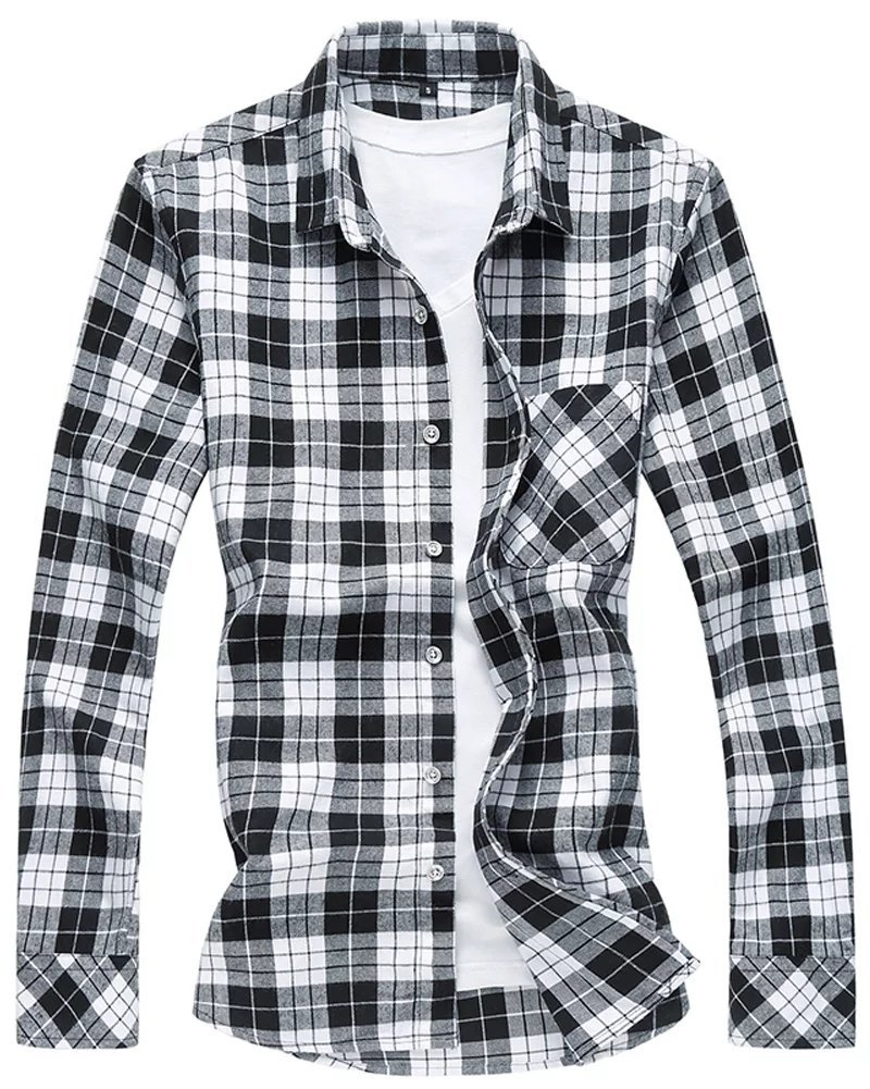 WELITY Men's Long Sleeves Retro Vintage Checker Plaids Dress Shirt 0