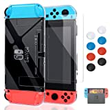 Case for Nintendo Switch,Fit The Dock Station, Protective Accessories Cover Case for Nintendo Switch and Joy-Con Controller - Dockable with a Tempered Glass Screen Protector,Crystal Clear (Color: Transparent)
