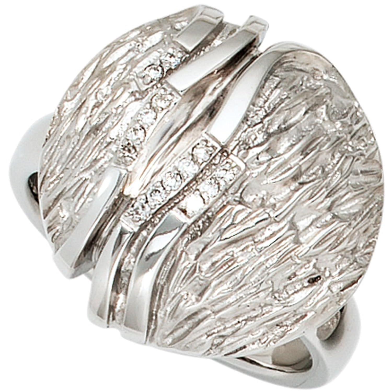 Damen Silber Ring aus 925 Sterling Silber rhodiniert teilmattiert 14 Brillanten, 0,07 ct. ( Größe 56 ) bestellen