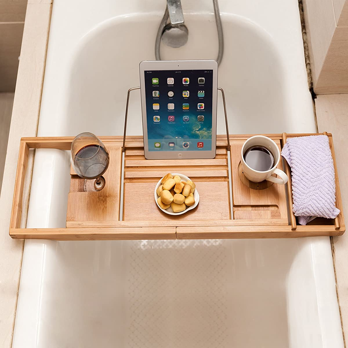 Valdler Home Wooden Bathtub Tray Caddy With Reading Rack And Wine Glass Holder